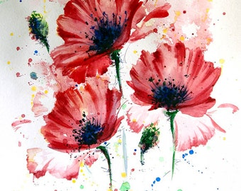 Poppies painting, ORIGINAL watercolor painting, Red poppy, Red wall art, Flower painting