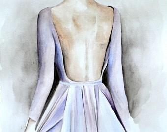 Lavender Dress by Elie Saab Fashion Illustrations Watercolor Art Couture Woman ElegantBack