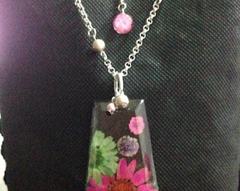 Pressed Flower Necklace - Real Flower Jewelry -Floral Pendant