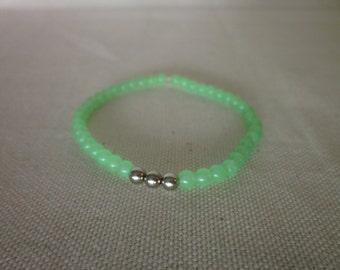 Seafoam Glass Bead Stretch Bracelet