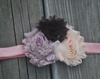 Pink and Brown Shabby Flower Headband