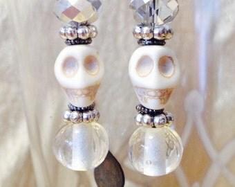 White Skull and Vintage Glass Bead Silver Dangle Earrings