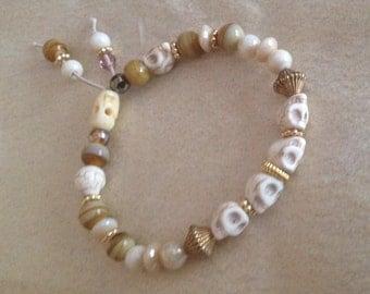 White Skulls and Vintage Beads Stretch Bracelet