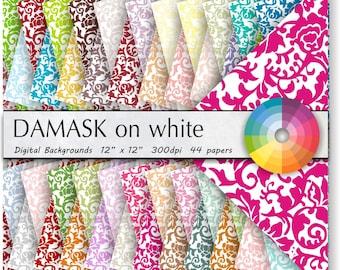 DAMASK DIGITAL PAPER scrapbooking paper digital paper background paper digital party wedding invitation 44pk Value stack