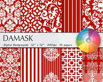 red damask digital paper red digital paper red damask digital paper red damask digital paper red damask digital paper 10pk