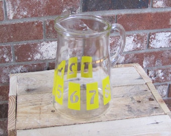 Glass Numbered Pitcher Mid Century