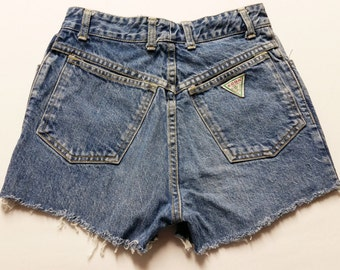 25  inch waist-----Vtg 80's High waist cut off denim shorts