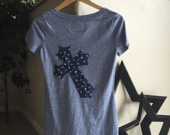 T-shirts embellished with fabric cross and bling.