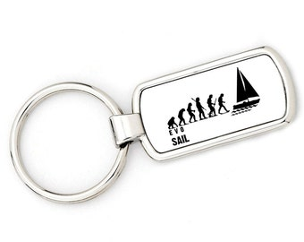 Mans Evolution Keyring keychain Ape to Sail (sailing) metal key ring gift present