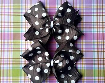 Gray with White Polka Dot Pinwheel Hair Bows