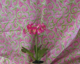 Waverly Fushia and Lime Sarong Scroll Fabric