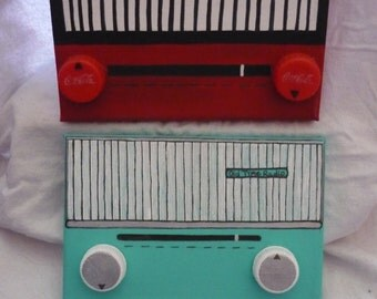 Old school Radios painted on canvas, customized