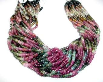 A+ Grade Watermelon Tourmaline Bead Faceted Rondelle 2x4mm, 14.5 Inch, Full strand, Approx 160 beads, Hole 1mm (427024002)