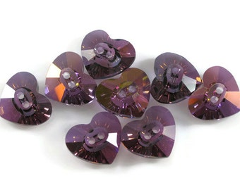 Swarovski Crystal Button 3023 Lilac Shadow 16x14mm Heart
