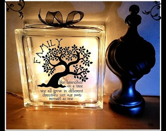 Family Quote with Tree Glass Block Night Light