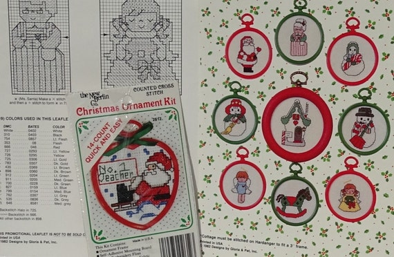 christmas counted cross stitch patterns and small kit christmas ornaments holiday embroidery santa