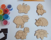 6 Cutouts: Sheep, Turtle, Bird, Ladybird, Butterfly and Flower.Wood Craft Shapes for Coloring.Easy Kids Crafts.Handmade Craft Supplies. 026