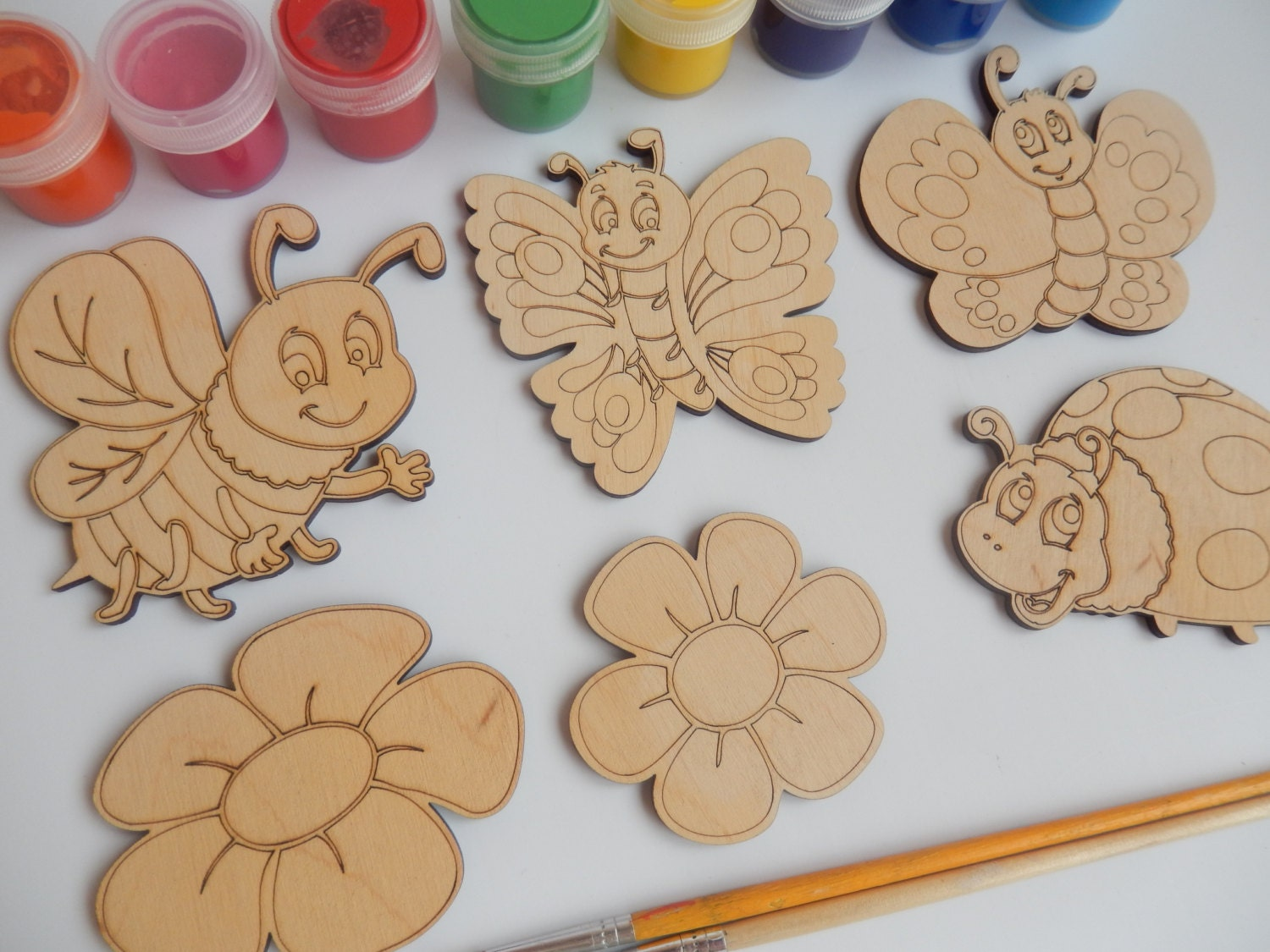 6 laser cut wood shapes bee butterfly ladybird flower for Wood crafts for kids