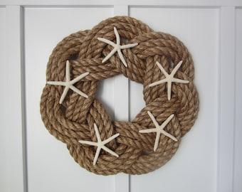Rope wreath with white starfish - Nautical wreath - Maritime wreath