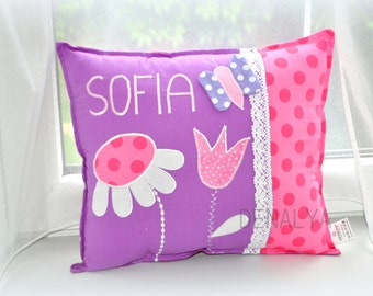 PILLOW WITH NAME,flower,personalized pillow, applique pillow,kids pillow, baby cot set, kids room decoration,pillow together with filler