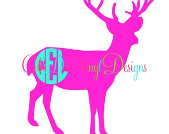 Deer Monogram Decal - Monogram Deer Decal - Monogram Car Decal - Monogram Decal - Car Decal - Monogram Deer Decal - Hunting Deer Decal