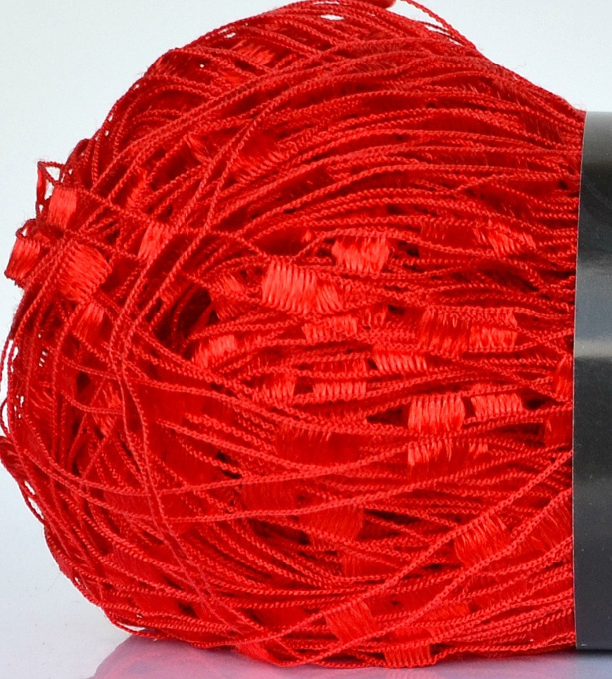 Confetti Ladder Yarn Red 21 Solid Red Ribbon Ladder Yarn
