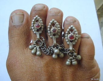 vintage antique ethnic tribal old silver toe ring traditional jewelry
