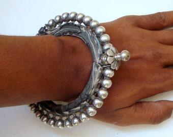 vintage antique old silver bangle bracelet tribal belly dance jewelry rabari