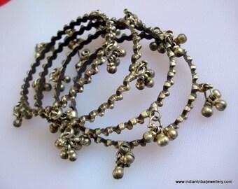 vintage antique tribal old silver bangle bracelet set tribal belly dance jewelry