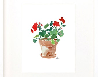 Geranium, geranium drawing, geranium painting, printable art, JPEG of geranium, downloadable art, pot of geraniums, flower pot art, floral