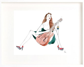con fuoco, illustration of woman with guitar, classical guitar, downloadable art, digital fashion illustration, digital watercolor painting