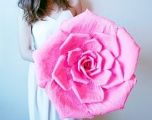 Handmade giant crepe paper flower with or without stem, wedding bouquet, bridesmaid bouquet,  party decoration, Summer, Spring, giant rose