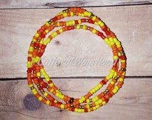 Waist Beads | Belly Beads | African Inspired | Belly Chains | Red, Orange, Yellow, Gold