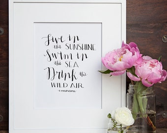 DOWNLOADABLE // Live in the Sunshine // Emerson // Printable // Instant Download // 8 x 10 // Handlettered Print // Calligraphy