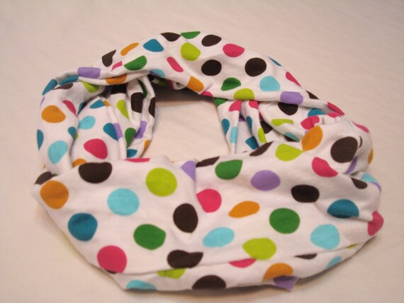 Children's Infinity Scarf - White with colorful polka dots