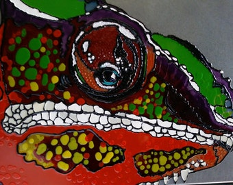 Chameleon portrait- Custom portrait with Vibrant glossy paint on metal canvas
