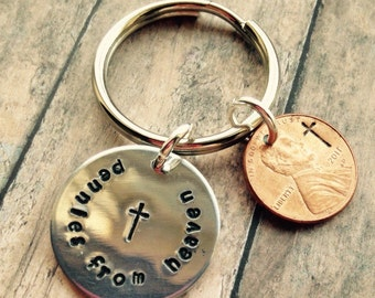 Handstamped personalized penny keychain - pennies from heaven - pick a penny year - 70's-2016 - message for earlier years - engraved penny