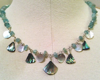 mermaidenly necklace with paua shell, mussel shell and apatite