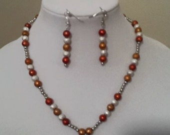 Autumn Jewelry - Fall Necklace Earring Set - Orange, Silver, Brown Necklace & Earrings - Women's Fall Jewelry - Fall Leaves Necklace