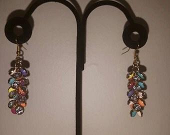 Mutli-Color Cluster Earrings - Spring Cluster Earrings - Colorful Earrings - Women's Earrings - Women's Spring Time Earrings - Colorful