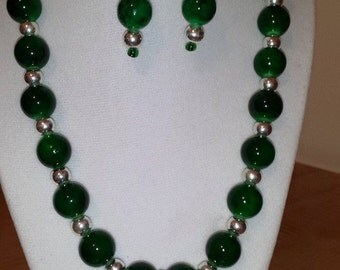 Green Glass Jewelry Set - Women's Jewelry Set - Green - Green Necklace - Green Earrings - Women's Green Jewelry - Women's Green Jewelry Set