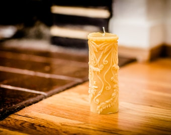 100% Beeswax Fern Pillar Candle