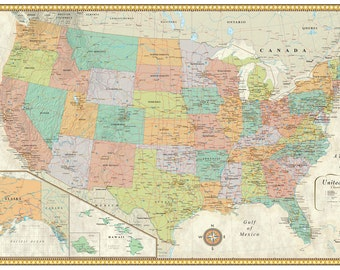 United States Usa Us Contemporary Premier Edition Large Wall Map Mural Poster Decor For