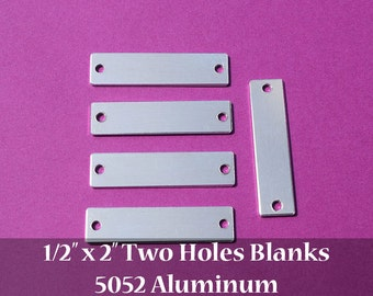 "DISCOUNTED - 57 - 5052 Aluminum 1/2"" x 2"" Rectangle Blanks - TWO 3/16"" HOLES - Polished Metal Stamping Blanks - 14G 5052 Aluminum"