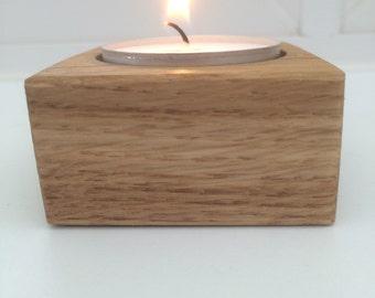 Solid Oak Handmade tea light holder