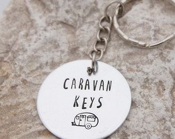 Caravan Keyring - Aluminium Key fob which can be personalised with a name or wording of your choice. Love glamping.