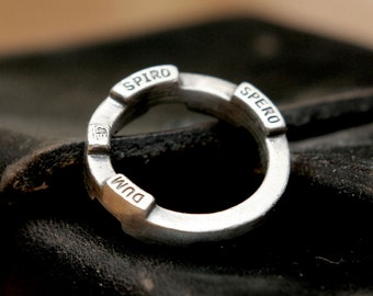 quotes ring, rustic ring, industrial ring, vintage ring, word ring, latin ring, silver ring, quote ring, menly ring