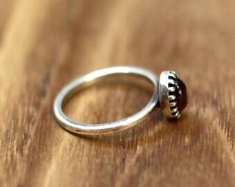 garnet ring, stacking ring, cute ring, stone ring, birth stone, thin silver ring, stack ring, silver ring