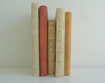 Multi Colour Decorative Bookset, Vintage French Books, Bookshelf Decor, Collection, Retro, Instant Library, Home Decor, White, Red, Blue.
