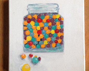 Jar of candy, 8x8 inch stretched canvas, acrylic painting